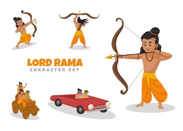 Fumetto illustrazione del set di caratteri di lord rama