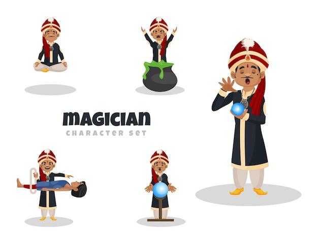 Illustrazione del fumetto del set di caratteri del mago