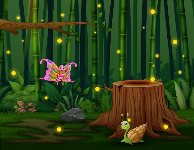 Illustrazione del fumetto di molti insetti con le lucciole nel giardino