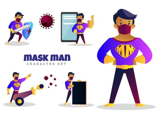 Fumetto illustrazione di maschera uomo set di caratteri
