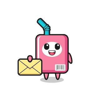 Cartoon illustrazione della scatola del latte con una lettera gialla, un design in stile carino per maglietta, adesivo, elemento logo