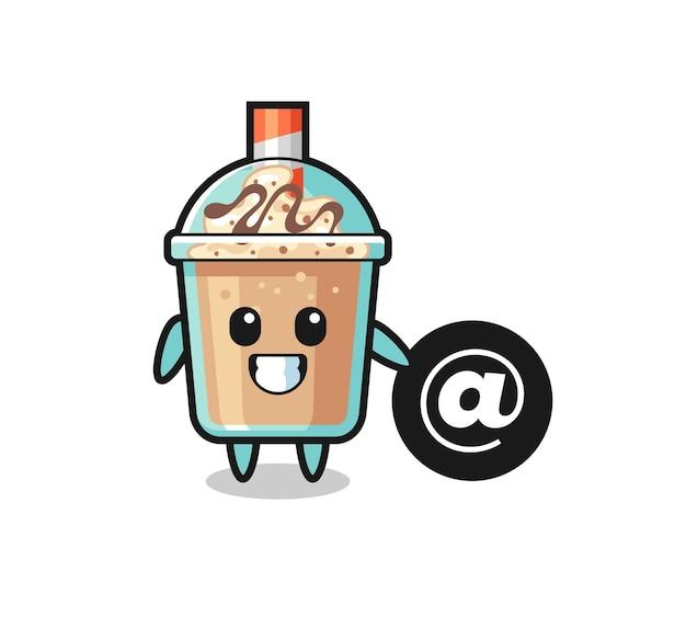 Cartoon illustrazione di milkshake in piedi accanto al simbolo at, design in stile carino per t-shirt, adesivo, elemento logo