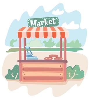 Illustrazione del fumetto della moderna bancarella del mercato sul paesaggio estivo