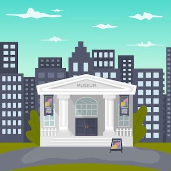 Un fumetto illustrazione di un edificio museale con un nome e colonne e una città sullo sfondo