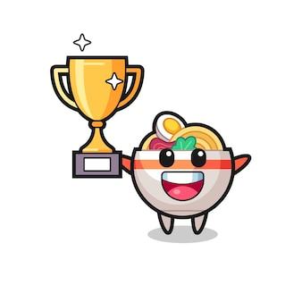 Cartoon illustrazione della ciotola di noodle è felice tenendo in mano il trofeo d'oro, design in stile carino per t-shirt, adesivo, elemento logo