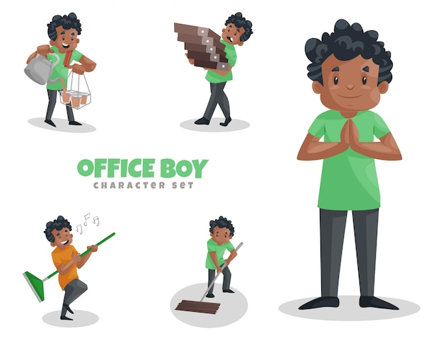 Fumetto illustrazione del set di caratteri del ragazzo di ufficio