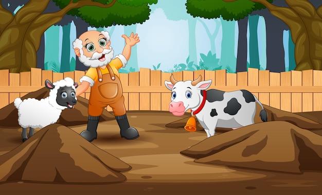 Illustrazione del fumetto del vecchio contadino con animali da fattoria nella fattoria