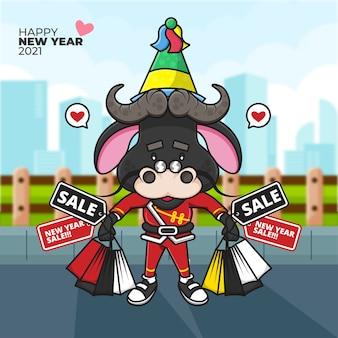 Cartoon illustrazione di un bue che indossa un cappello da festa e ha portato una borsa della spesa in vendita di capodanno con felice anno nuovo