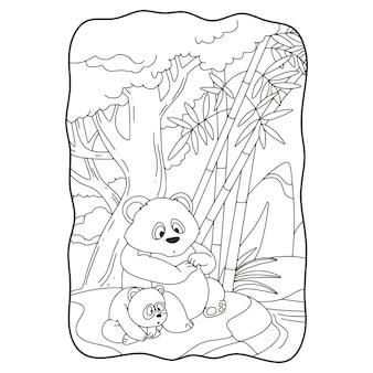 Cartoon illustrazione panda con il suo cucciolo seduto su una grande roccia vicino al fiume libro o pagina per bambini in bianco e nero