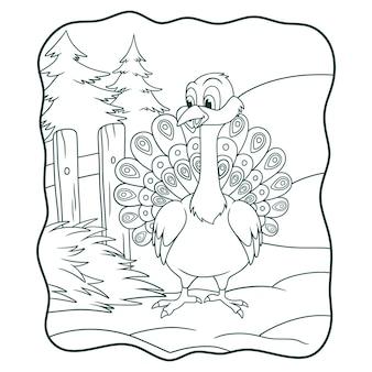 Illustrazione del fumetto il pavone è nella fattoria allargando il suo libro di coda o pagina per bambini in bianco e nero