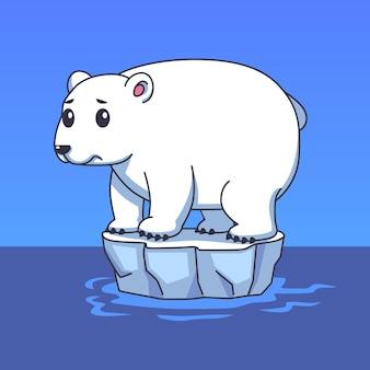 Cartoon illustrazione orso polare su ice floe campagna di riscaldamento globale