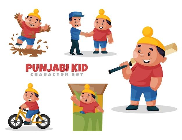 Fumetto illustrazione di punjabi kid set di caratteri