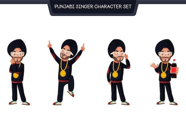 Fumetto illustrazione del set di caratteri del cantante punjabi