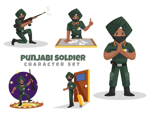 Cartoon illustrazione del punjabi soldato set di caratteri