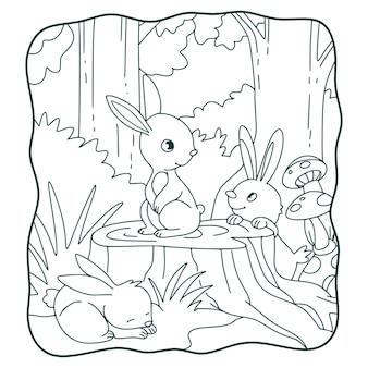 Illustrazione del fumetto il coniglio è nel mezzo del libro o della pagina della foresta per i bambini in bianco e nero