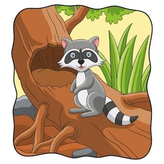Procione dell'illustrazione del fumetto che sta su un grande albero