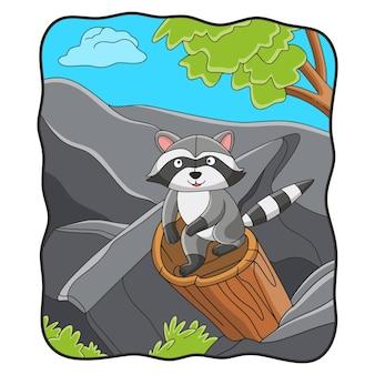 Procione dell'illustrazione del fumetto su un tronco d'albero