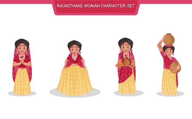Illustrazione del fumetto del set di caratteri della donna del rajasthan