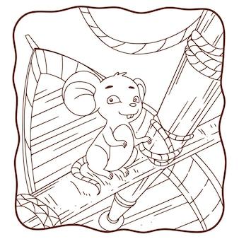 Illustrazione del fumetto che il topo è sul libro o sulla pagina della barca per i bambini in bianco e nero