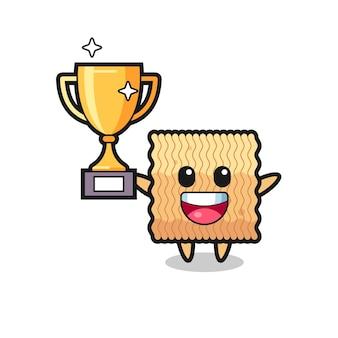 L'illustrazione del fumetto della tagliatella istantanea cruda è felice che sorregge il trofeo d'oro, un design in stile carino per t-shirt, adesivo, elemento logo