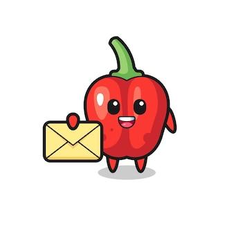 Cartoon illustrazione di peperone rosso con in mano una lettera gialla, design in stile carino per maglietta, adesivo, elemento logo
