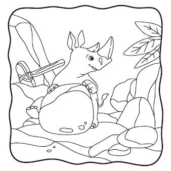 Rinoceronte dell'illustrazione del fumetto che si siede su un libro o una pagina della roccia per i bambini in bianco e nero