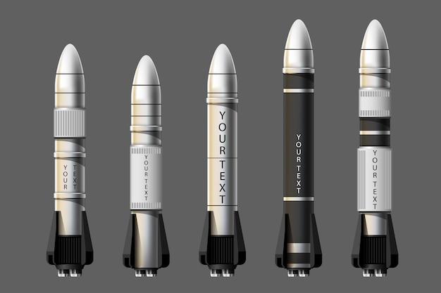 Illustrazione del fumetto insieme isolato del lancio del razzo. razzi di missione spaziale con fumo. illustrazione in stile 3d