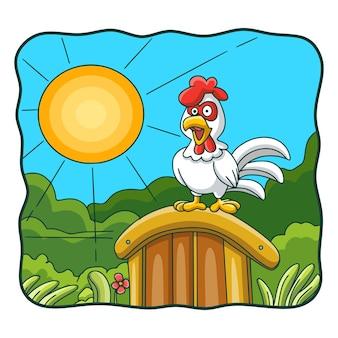 Canto del gallo dell'illustrazione del fumetto