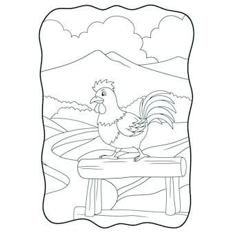Illustrazione del fumetto il gallo si prepara a cantare sul registro o sulla pagina per i bambini in bianco e nero