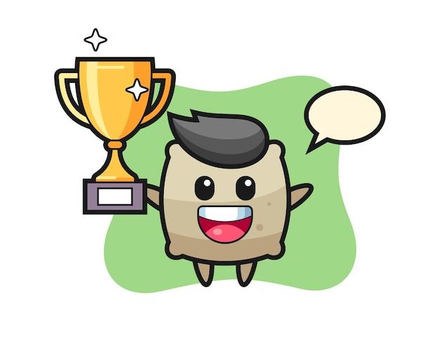 L'illustrazione del fumetto del sacco è felice di tenere in mano il trofeo d'oro, un design in stile carino per maglietta, adesivo, elemento logo