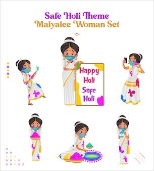 Illustrazione del fumetto del set di caratteri della donna malayalee a tema holi sicuro