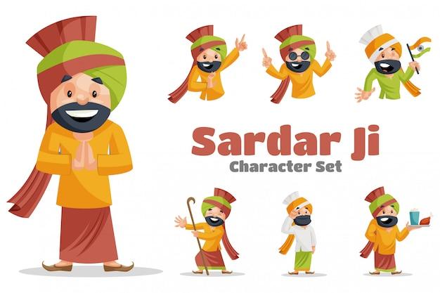 Illustrazione del fumetto del set di caratteri di sardar ji