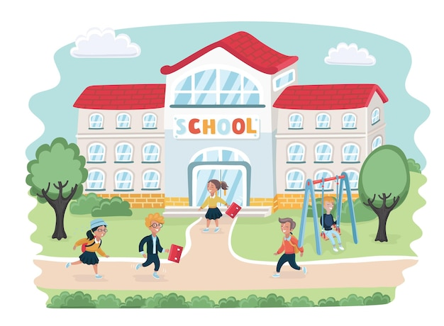 Illustrazione del fumetto della scuola con i bambini che vanno a scuola in fretta