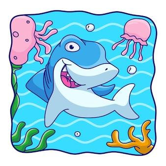 Cartoon illustrazione squali e meduse che nuotano