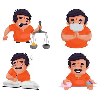 Fumetto illustrazione del set di caratteri del negoziante