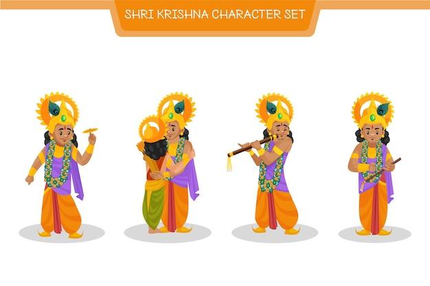 Fumetto illustrazione di shri krishna set di caratteri