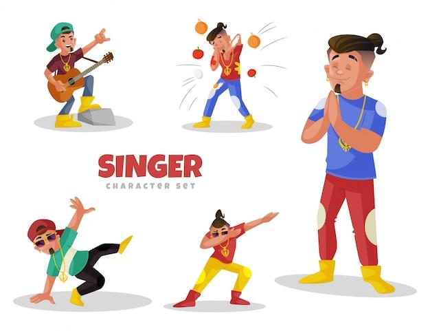 Fumetto illustrazione del set di caratteri cantante