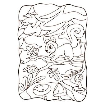 Cartoon illustrazione scoiattolo rampicante libro o pagina per bambini in bianco e nero