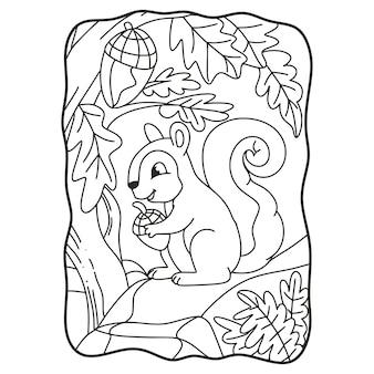Scoiattolo dell'illustrazione del fumetto che mangia su un grande libro o una pagina della roccia per i bambini in bianco e nero