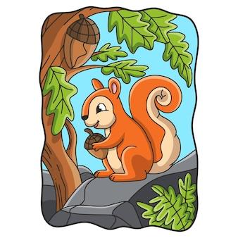 Scoiattolo dell'illustrazione del fumetto che mangia su una grande roccia