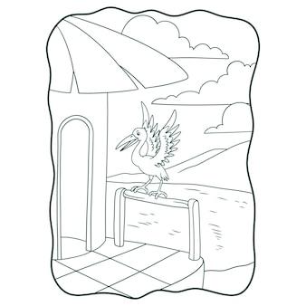 Illustrazione del fumetto la cicogna appollaiata sul bordo di legno del libro della casa o della pagina per i bambini in bianco e nero
