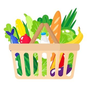 Illustrazione del fumetto del cestino della drogheria del supermercato con alimento biologico sano isolato su priorità bassa bianca