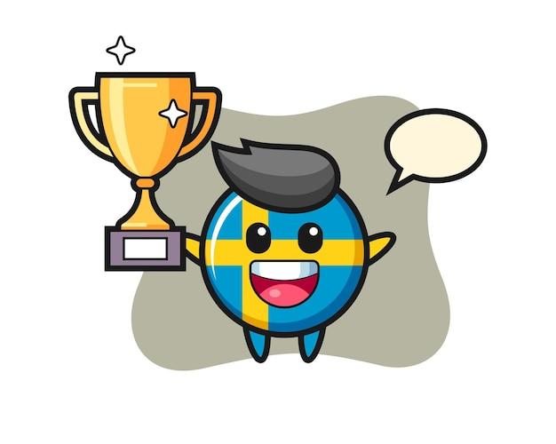 L'illustrazione del fumetto del distintivo della bandiera della svezia è felice che sorregge il trofeo d'oro, un design in stile carino per t-shirt, adesivo, elemento logo
