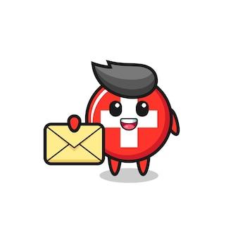 Illustrazione del fumetto del distintivo della bandiera svizzera che tiene una lettera gialla, design in stile carino per t-shirt, adesivo, elemento logo