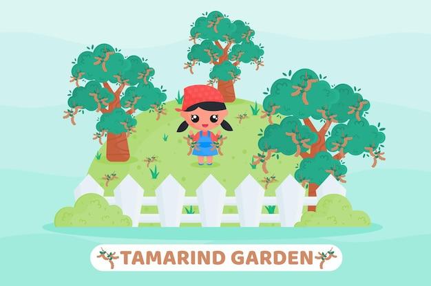 Cartoon illustrazione del giardino di tamarindo con simpatico contadino che raccoglie tamarindo