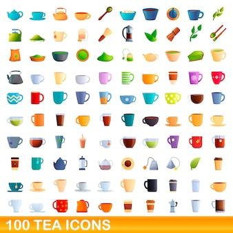 Illustrazione del fumetto del set di icone del tè isolato su priorità bassa bianca