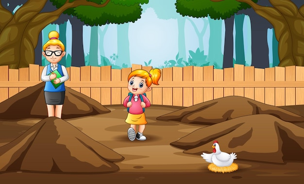 Cartoon illustrazione di un insegnante e studente vedendo polli che depongono le uova sul bestiame