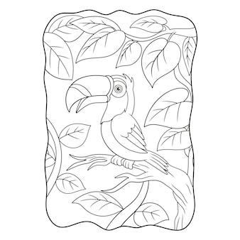 L'uccello del tucano dell'illustrazione del fumetto si è appollaiato su un libro o una pagina del tronco di albero alto per i bambini in bianco e nero