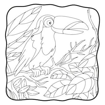 L'uccello del tucano dell'illustrazione del fumetto si è appollaiato su un libro o una pagina dell'albero per i bambini in bianco e nero