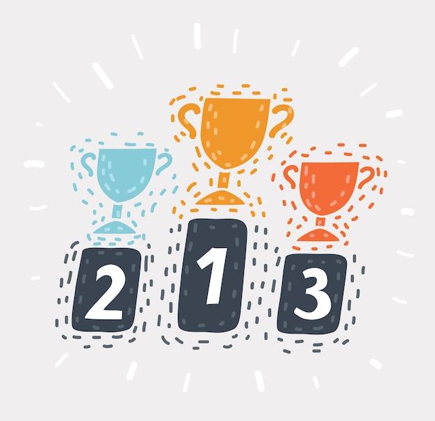 Fumetto illustrazione del trofeo. oro, argento, bronzo. il podio vincente. mostrando un premio primo, secondo, terzo posto. oggetto su sfondo isolato.